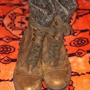 Steve Madden Brown Lace Up/Zipper Boots